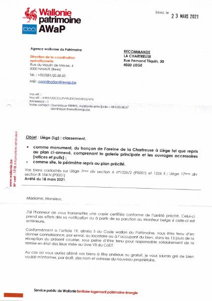Le classement de l'areine de la Chartreuse
